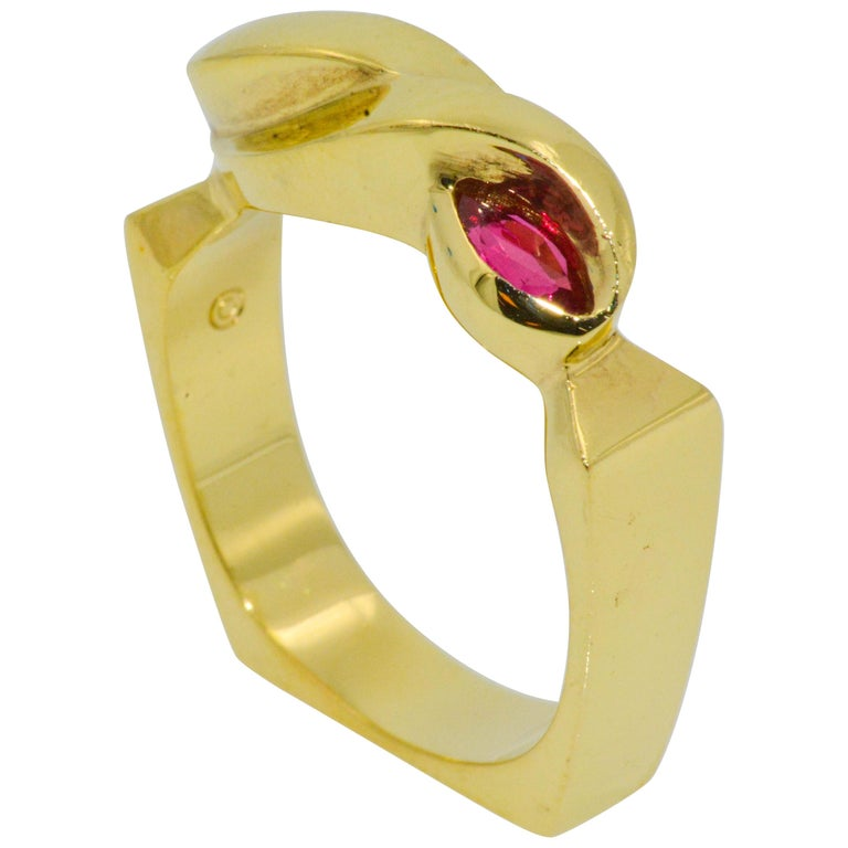 .36 Carat Marquise Ruby 18 Karat Yellow Gold Fashion Ring For Sale