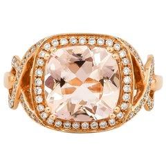 3.6 Carat Morganite and Diamond Ring in 18 Karat Rose Gold