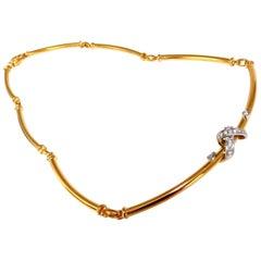 """.36 Carat Natural Diamonds 3D """"X"""" Wrap Tubular Hinge Link Necklace 18 Karat"""
