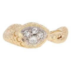 .36 Carat Round Brilliant Diamond Snake Ring 18 Karat Gold Curving Serpent