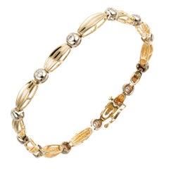.36 Carat Round Diamond Bezel Set Gold Link Bracelet