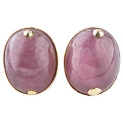 36 Carat Ruby Cabochon Earrings in Yellow Gold with Certificate