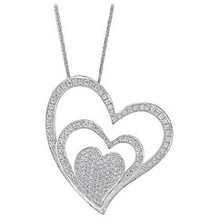 3.6 Ct Diamond 3 Heart Pendant or Necklace 18 K White Gold with 14 K Gold Chain