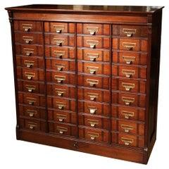 36 Drawer Antique Walnut Filing Cabinet