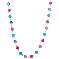 "36"" Gilded Bezel Set Colored Swarovski Crystal Necklace by Swarovski, 1980s"