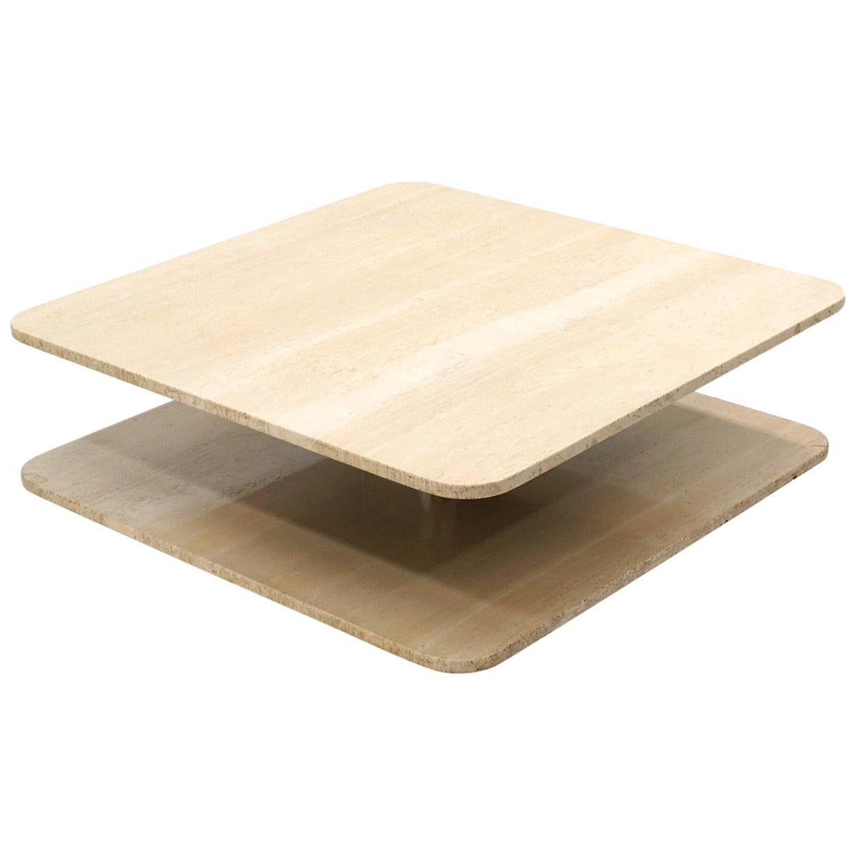 Square Travertine and Chrome Coffee Table