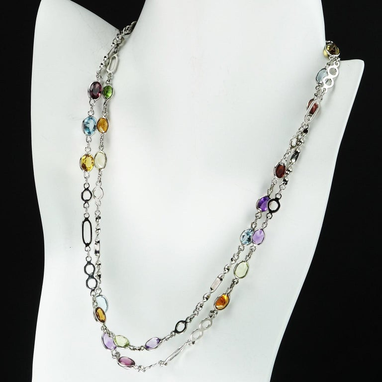 Artist Sterling Silver Chain with Oval Gemstones Necklace For Sale