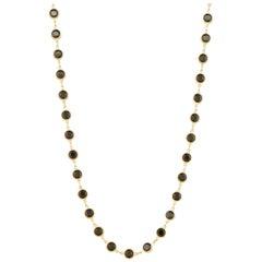 "36"" Onyx Swarovski Crystal Gold Bezel Station Necklace by Swarovski, 1980s"