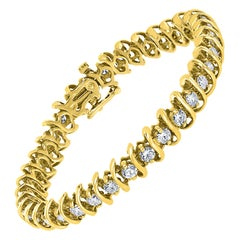 36 Round Diamond S Design Tennis Bracelet in 14 Karat Yellow Gold Carat 7 Carat