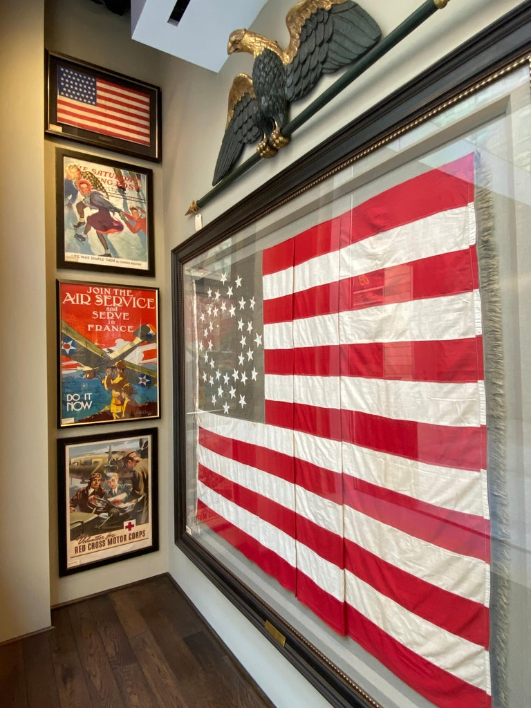 Cotton 36-Star American Flag, Hand-Cut and Sewn, Civil War Era with Rare Pattern For Sale