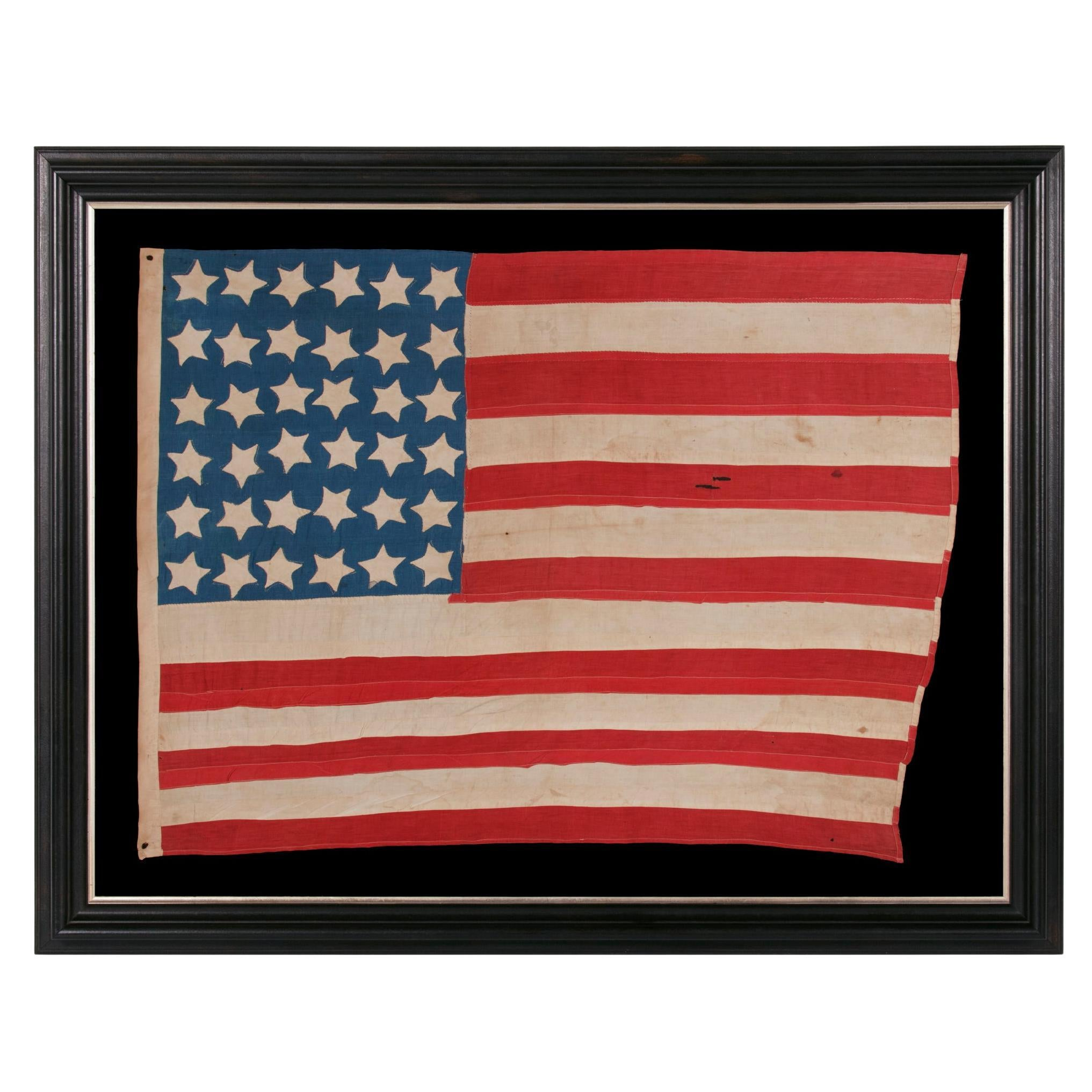 36 Star Antique American Flag, Cornflower blue Canton, ca 1864-1867, Nevada
