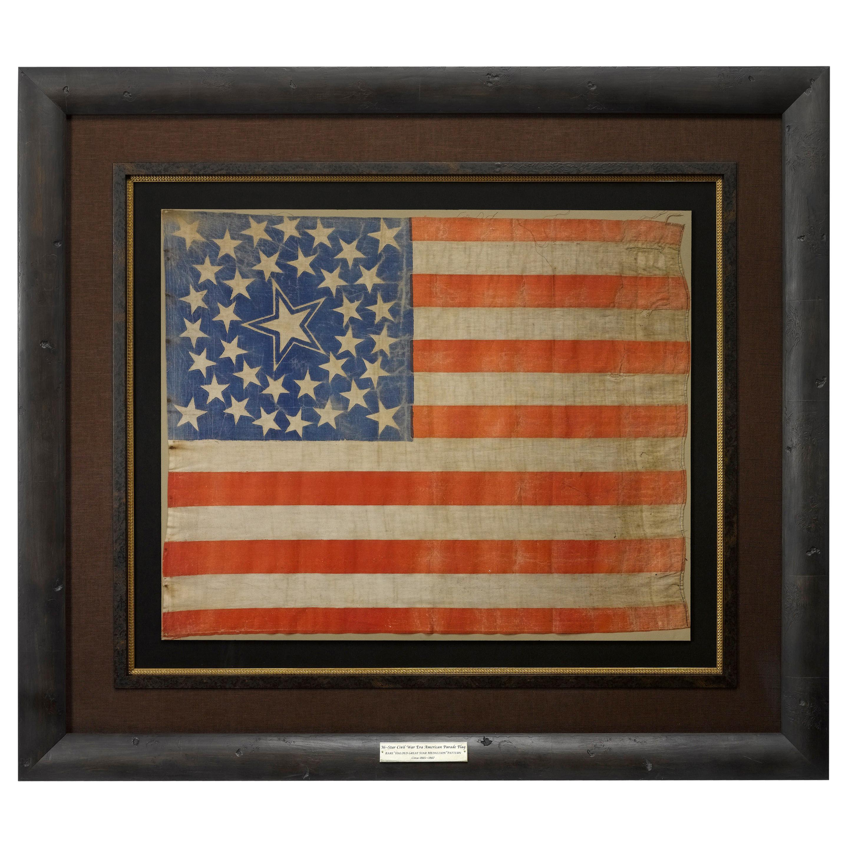 36-Star Antique American Flag with Rare Haloed Star Medallion, circa 1865
