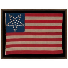 """36 Star Antique Flag, Nevada Statehood, with Stars in the """"Great Star"""" Pattern"""