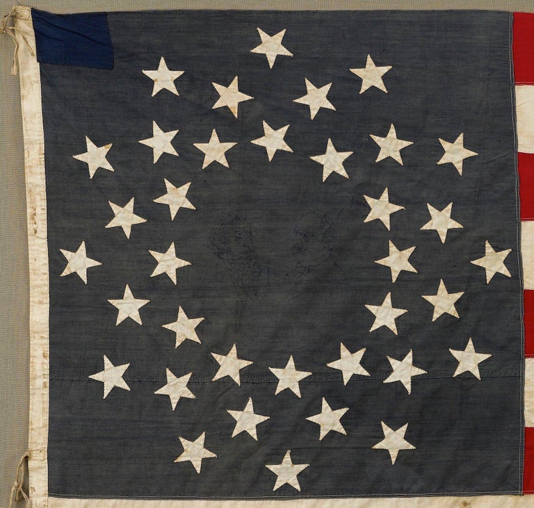 This a 36-star medallion American flag, with a magnificent and rare star pattern and campaign connection. 36 stars celebrate the addition of Nevada to the Union and officially flew from July 4, 1865 to July 3, 1867, under President Andrew