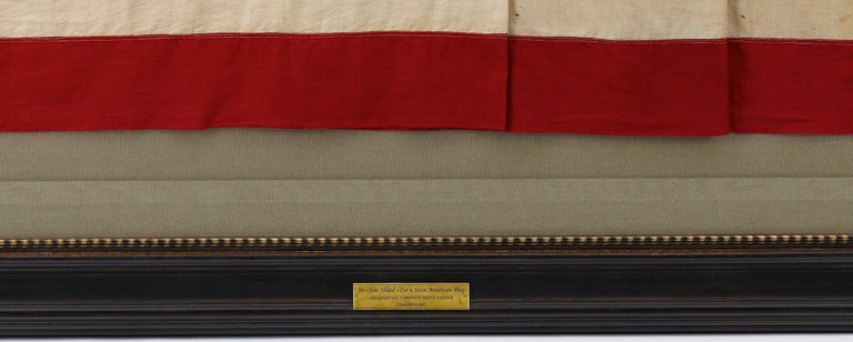 36-Star American Flag, Hand-Cut and Sewn, Civil War Era with Rare Pattern In Good Condition For Sale In Colorado Springs, CO