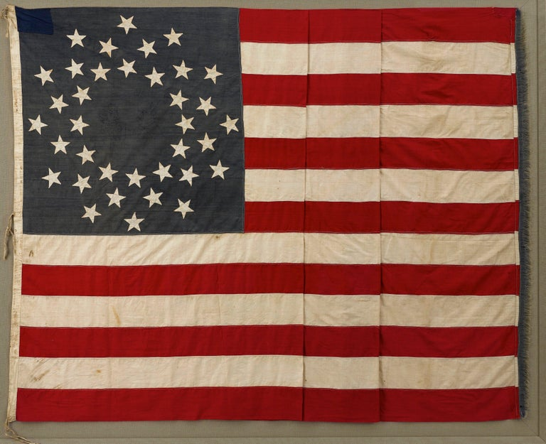 Mid-19th Century 36-Star American Flag, Hand-Cut and Sewn, Civil War Era with Rare Pattern For Sale