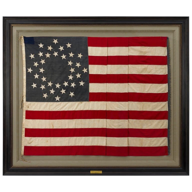 36-Star American Flag, Hand-Cut and Sewn, Civil War Era with Rare Pattern For Sale