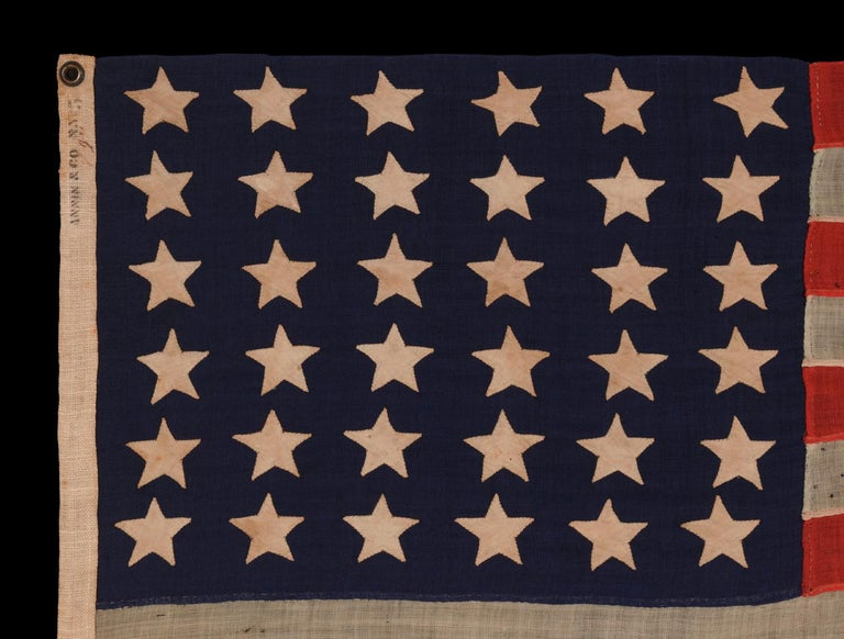 36 Stars On An Entirely Hand-Sewn Antiques American Flag of the Civil War Era In Good Condition For Sale In York County, PA