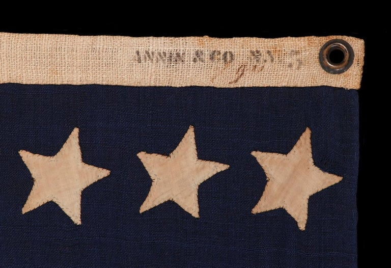 36 Stars On An Entirely Hand-Sewn Antiques American Flag of the Civil War Era For Sale 1