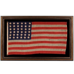 36 Stars On An Entirely Hand-Sewn Antiques American Flag of the Civil War Era