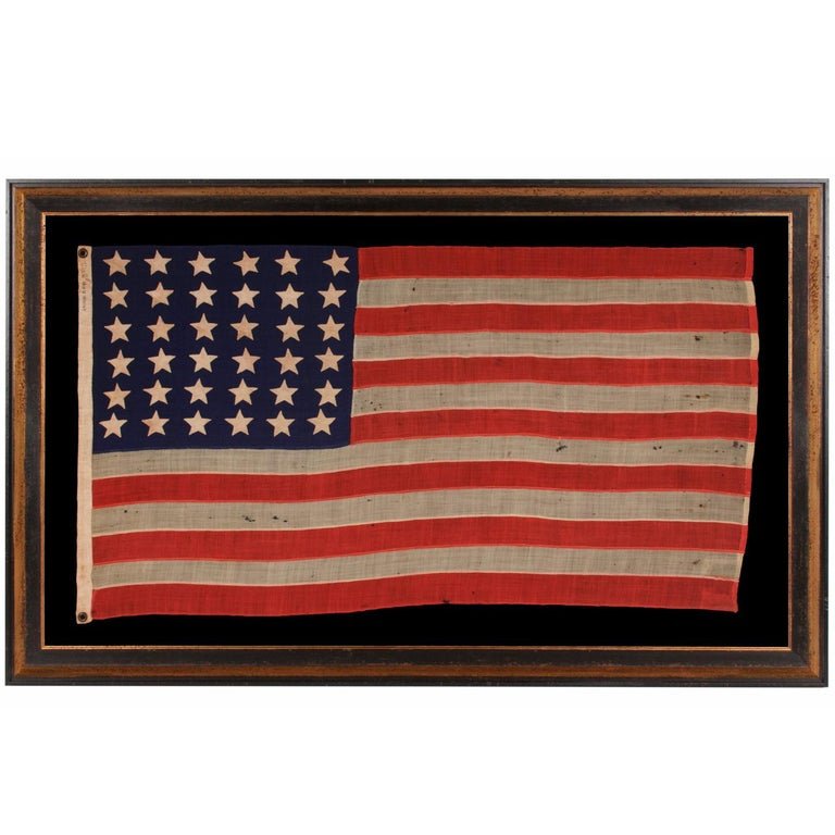 36 Stars On An Entirely Hand-Sewn Antiques American Flag of the Civil War Era For Sale