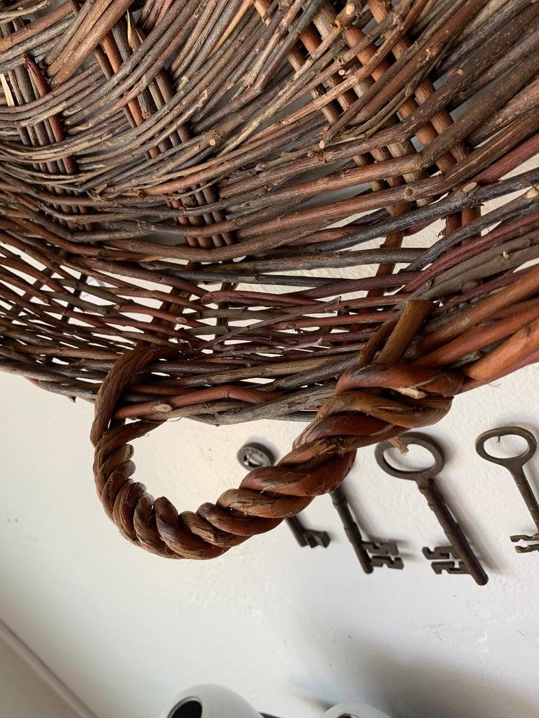 Woven Vintage European Flat Basket For Sale