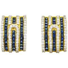 3.60 Carat 18 Karat Gold Diamond Sapphire Half-Hoop Earrings