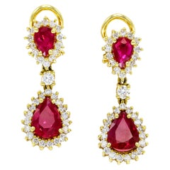 3.60 Carat 18 Karat Yellow Gold Ruby Diamond Drop Dangle Clip-On Earrings