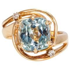 3.60 Carat Aquamarine Ring with Diamond Side Stones, EGL USA