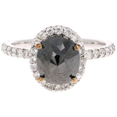 3.60 Carat Black Diamond 14 Karat White Gold Halo Engagement Ring