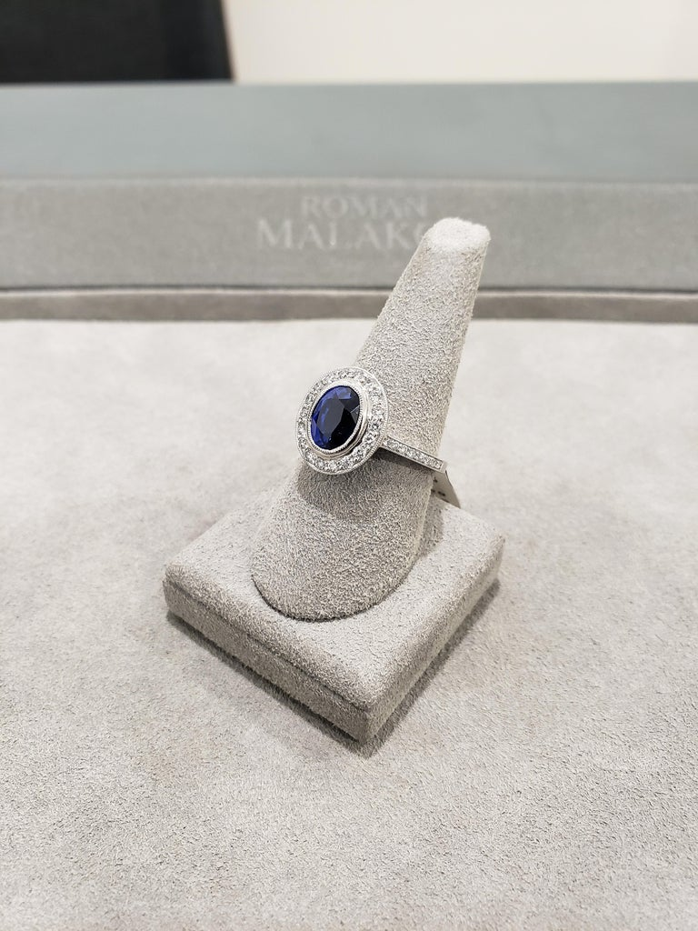 3.60 Carat Blue Sapphire Diamond Halo Ring In New Condition For Sale In New York, NY