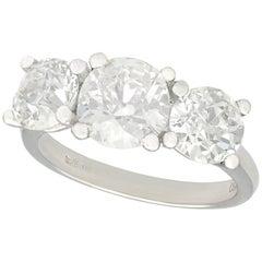 3.60 Carat Diamond and Platinum Trilogy Ring