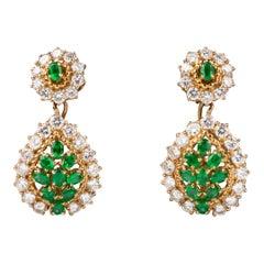 3.60 Carat Diamonds and 1.60 Carat Emeralds Boucheron Paris Earrings