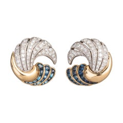 3.60 Carat Diamonds and Sapphires French Art Deco Cocktail Earrings