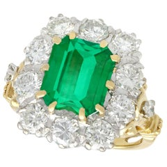 3.60 Carat Emerald and 1.85 Carat Diamond Yellow Gold Cocktail Ring