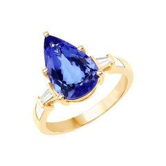 3.60 Carat Genuine Tanzanite and White Diamond 14 Karat Yellow Gold Ring