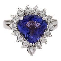 3.60 Carat Natural Tanzanite 18 Karat White Gold Diamond Ring