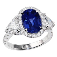 3.60 Carat Blue Sapphire White Gold Cocktail Ring