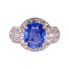 3.60 Carat Oval Sapphire and Diamond Platinum Ring