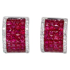 3.60 Carat Ruby Earrings with Diamonds 18 Karat Gold