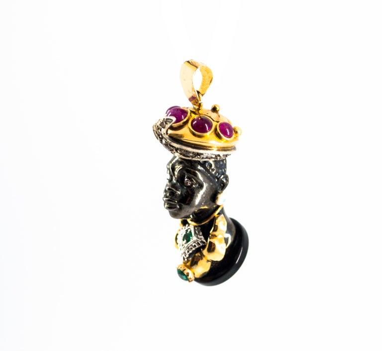 Women's or Men's 3.60 Carat Ruby Emerald White Diamond Onyx Yellow Gold