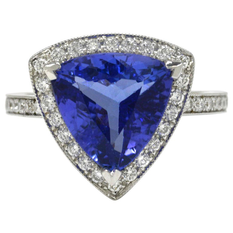 3.60 Carat Tanzanite Triangle Deco Engagement Cocktail Ring Certified For Sale