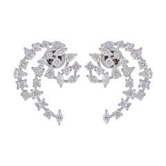 3.60 carats Diamond 18 Karat Gold Crescent Stud Earrings