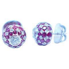 3.60 Carats Jasper Styled Ruby and Diamond Pave Earrings 18 Karat