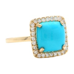 3.60 Carats Natural Turquoise and Diamond 14k Solid Yellow Gold Ring