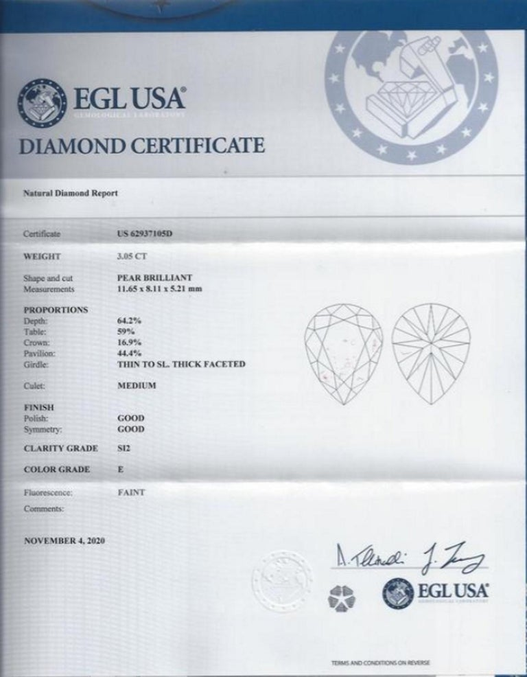 Modern 3.60 Certified Carat Pear Cut Diamond with Side Diamonds For Sale