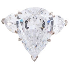 3.60 Certified Carat Pear Cut Diamond with Side Diamonds