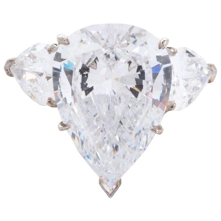 3.60 Certified Carat Pear Cut Diamond with Side Diamonds For Sale