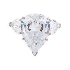 3.60 Certified Carat Pear Cut Diamond with Side Diamonds