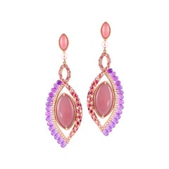 360° Double Sided Guava Quartz and Grey Moonstone Earring in 18 Karat Rose Gold